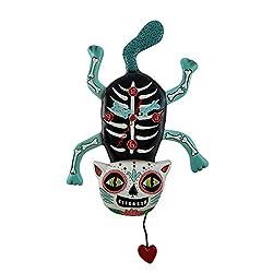 Resin Wall Clocks Allen Designs El Gato Cat Bony Sugar Skull Cat Wall Clock With Heart Pendulum 10 X 18 X 1.75 Inches Blue Model # P1662
