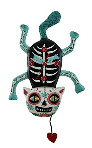 Allen Designs El Gato Cat Bony Sugar Skull Cat Wall Clock with Heart Pendulum ()
