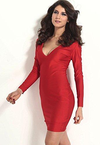 Pinkyee mujer forma ajustada Sumir V cuello jersey Midi vestido Rosso