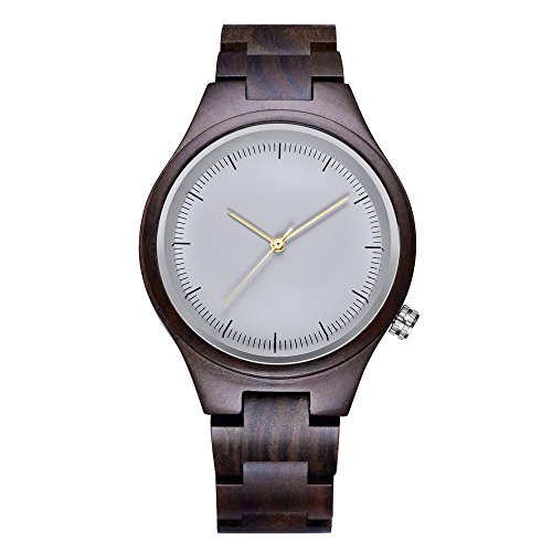 SIHAIXIN Wood Watches for Women with Black Sandalwood Links Strap Japanese Quartz Movement Casual White Dial Watch Woman Clock