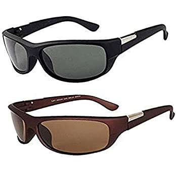 Y&S UV Protected Men's Sunglasses Combo-(Black-Brown-Wrap-Combo 55 mm)
