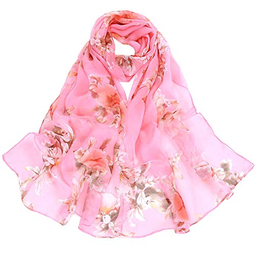 XUANOU Fashion Women Peach Blossom Printing Long Soft Wrap Scarf Ladies Shawl Sc
