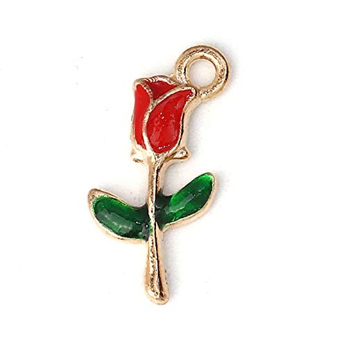 Real Red Rose Pendant - PEPPERLONELY 30pc Plated Gold Alloy Red Rose Flower Charms Pendants 19x10mm (6/8