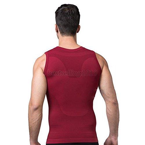 Schlankheits Unterhemd für Männer Gewichtsabnahme Entfernung von Bauchfett Hüftgold Schlankmachender Bodyformer Straffung des Unterbauchs Unterstützung des Rückens Formender Fit, XX-Large Rot