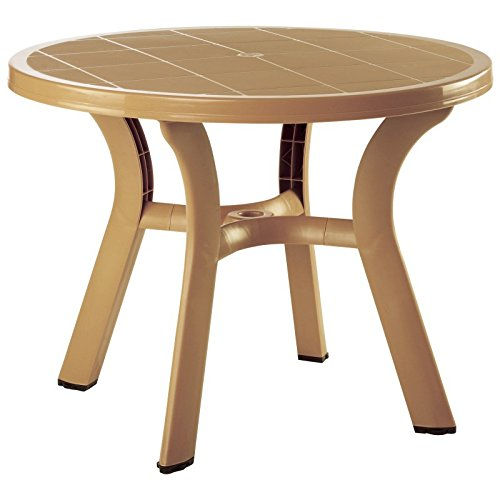 Truva Resin Round Dining Table 42 Inch (Teak Brown) (29″H x 42″W x 42″D) For Sale