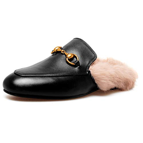 Comfity Mules for Women,Womens Leather Slip On Mule Flats Embroidery Loafers Backless Rabbit Hair Slippers