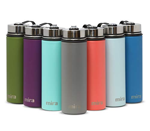 MIRA 22 Oz Stainless Steel Vacuum Insulated Wide Mouth Water Bottle | Thermos Keeps Cold for 24 Hours, Hot for 12 Hours | Double Wall Powder Coated Travel Flask | Smoke Gray