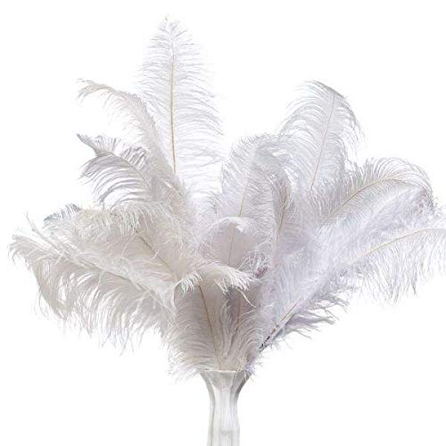 20pcs Ostrich Feathers 10-12inch (30-35cm) for Home Wedding Centerpieces Decoration (White)