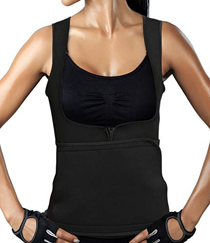 IFLOVE Waist Trainer Corset Vest for Weight Loss Womens Body Shaper Sauna Slimming Hot Sweat Tank Top Neoprene with Waist Trimmer Belt Black M