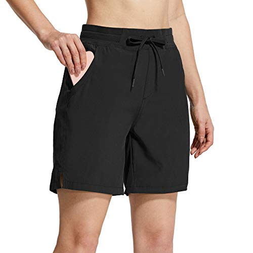 "BALEAF Women's 7"" Athletic Shorts 5 Pockets Quick Dry UPF 50+ Stretch Hiking Shorts for Camping, Travel, Running"