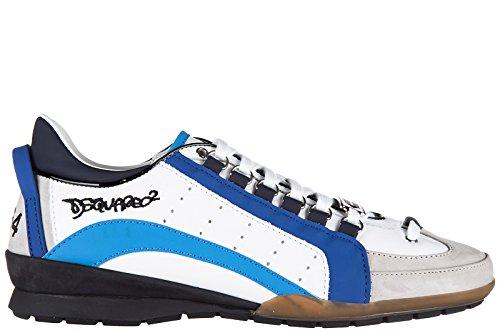 Dsquared2 chaussures baskets sneakers homme en cuir 551 veau sport blanc