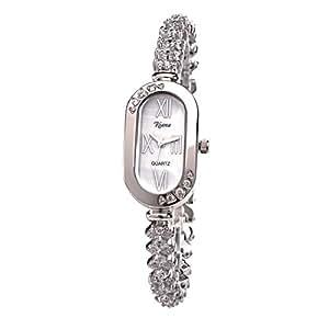 Womens Luxury CZ Crystals Bracelet Watch Oblong Dial Rhodium Plated Silver Tone Reloj -RCW17