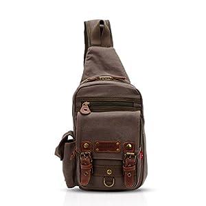 FANDARE Sling Bag Messenger Bag Shoulder Backpack Crossbody Bag Small Sport Bag Canvas Green