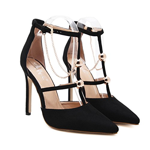 L@YC Frauen High Heels spitzte 12cm Metal Party Cool Single Schuhe Black