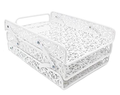 EasyPAG File Organizer Carved Hollow Flower Pattern Design Triple DeskTray,White (Flower Pattern Hollow)