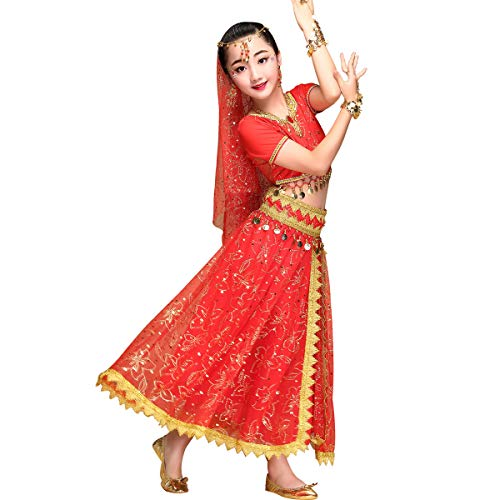 Kid's Belly Dance Chiffon Bollywood Costume Indian Dance Outfit Halloween Costumes with Coins 5 Pieces Sets(Red, Large)]()