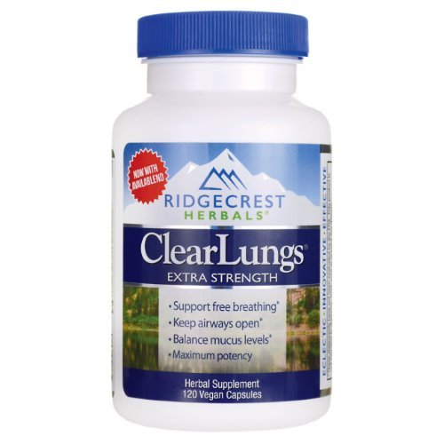 RidgeCrest Clearlungs Extra Strength Herbal Decongestant , 120 Veg Capsules (Formula Veg Herbal Caps Support)