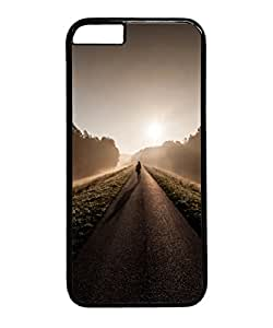 VUTTOO Iphone 6 Case, Lonely Lost Road Sunrise PC Plastic Hard Case Cover for Apple iPhone 6 4.7 Inch PC Black