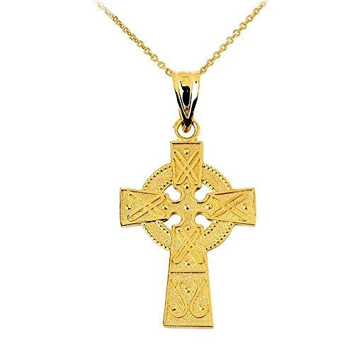 10k Yellow Gold Celtic Charm Gaelic Cross Pendant Necklace