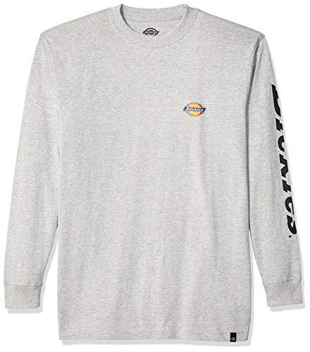 Dickies Men's Long Sleeve Logo Graphic Tee, Heather Gray, - Tee Sleeve Fashion Long Dickies