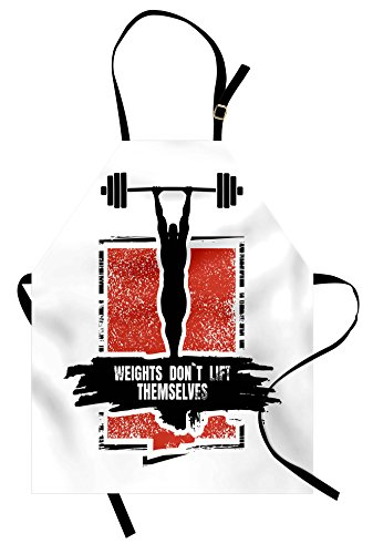 Ambesonne Fitness Apron, Bodybuilder and Huge Barbell Silhouettes Icon of Posing Athlete Weights Lift, Unisex Kitchen Bib Apron with Adjustable Neck for Cooking Baking Gardening, Red Black White
