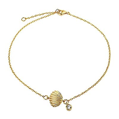 cheap Bling Jewelry Gold Plated Silver Clam Shell Seashell CZ Charm Anklet 7in big discount