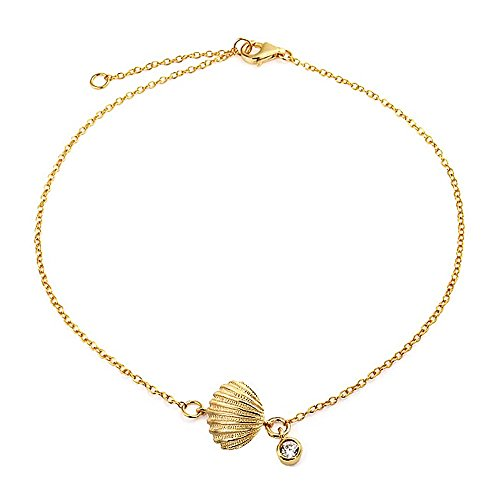 Bling Jewelry Gold Plated Silver Clam Shell Seashell CZ Charm Bracelet 7in (Gold Seashell Bracelet)