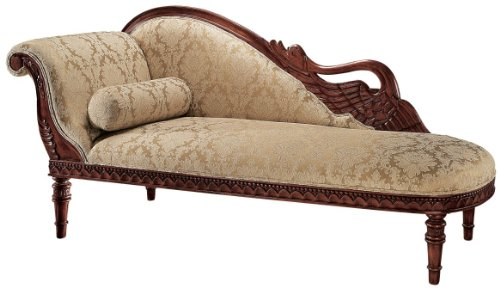 Hand Carved Solid Mahogany Antique Replica Swan Fainting Couch by XoticBrands