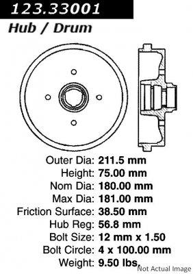 - Centric Parts 123.33001 Brake Drum