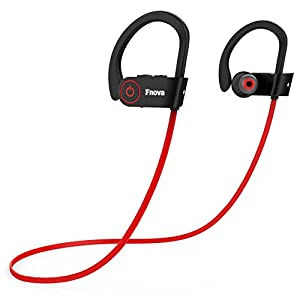 Bluetooth Wireless Headphones, Fnova Sports Waterproof Sweatproof IPX7 Earphones HD Stereo V4.1 Earbuds for Gym Running Workout, 8 Hour Battery Life Noise Canceling Headsets with Built-in Mic, Red