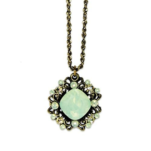 Anne Koplik Pacific Opalescent Cushion Cut Swarovski Ornate Frame Pendant Necklace
