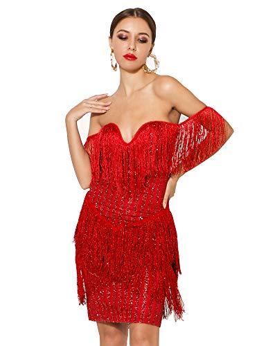 (Miss ord Women Off Shoulder Bustier Stripe Tassel Glitter Party Dress Red L)