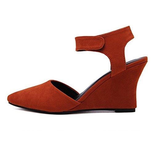 Zapatos de Acentuados Mujer Una Cuña Xianshu con Tacón Zapatos Velcro Alto de Naranja Mate de Hebilla Baja de con Boca qXwRwOp