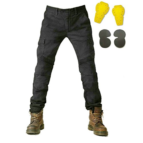 Motorcycle Pants (Takuey Men Motorcycle Riding Pants Motorcross Denim Jeans With 4 Protect Pads Equipment Racing Knight Trousers Black (XL=33-34))
