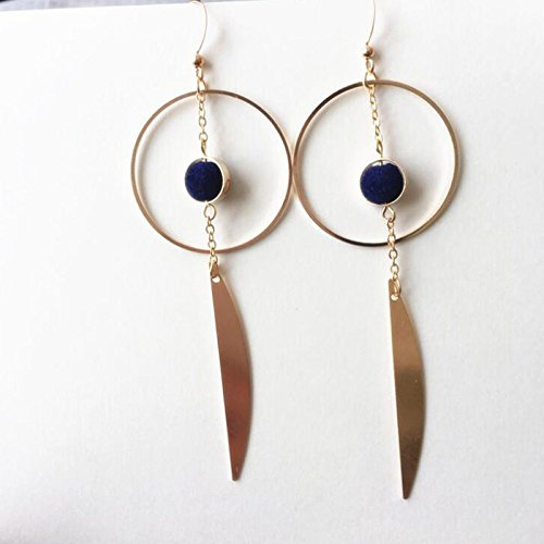 Baba Geometric Triangular Blue Pearl Bead Pompom Retro Gilded Asymmetrical Pendant Earrings