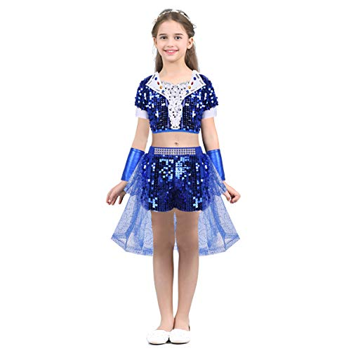 dPois Gilrs' Jazz Hip-hop Tap Dance Performance Costumes Sequined Crop Top with Shorts Tutu Skirt Wrist Sleeves 3PCS Set Blue (Girls) 8-10 ()