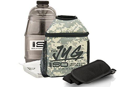 Us Army Ice - Isolator Fitness ISOJUG COMBO Insulated One Gallon Water Jug Holder AND One Gallon BPA Free Gallon Jug with ISOBRICK and Shoulder Strap -MADE IN USA (US Army)
