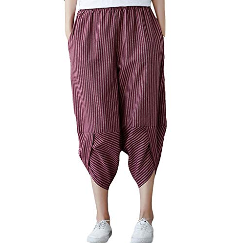 JOFOW Harem Pants Womens Capri Vertical Striped Hippie Cotton Linen Loose Casual Slit Cuff High Waist Tapered Crop Trousers (L,Red)