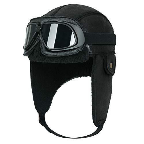 ililily Aviator Hat Winter Snowboard Fur Ear Flaps Trooper Trapper Pilot Goggles (One Size, Black/Black Goggle)