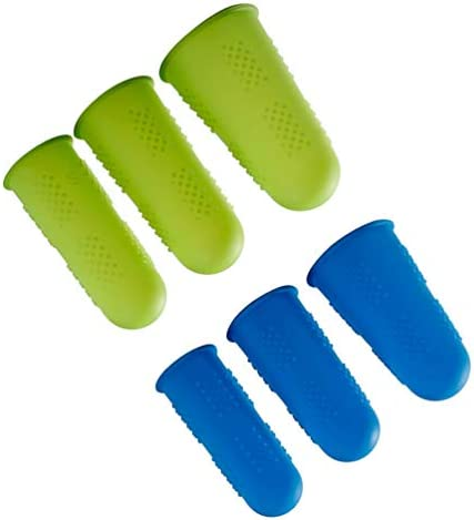 Healifty 18-Teiliger Fingerschutz Anti-Rutsch-Fingerspitzen-Fingergelenkhülse zum Schneiden des Fingerabzugs Blau Grün