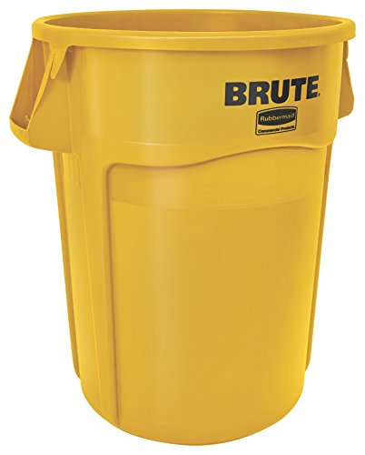 Facility Waste Receptacles - Rubbermaid Commercial BRUTE Heavy-Duty Round Waste/Utility Container with Venting Channels, 44-gallon, Yellow (FG264360YEL)