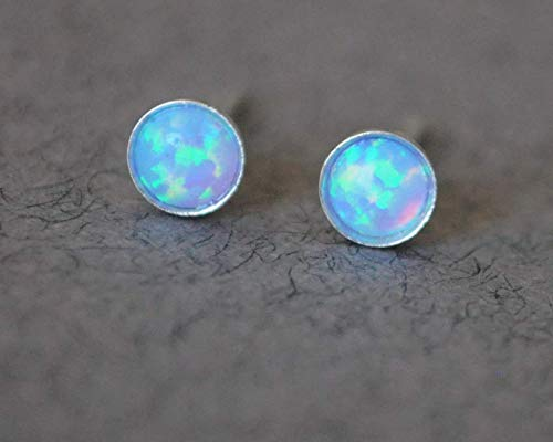 Blue Opal Stud Earrings 4mm Sterling Silver Opal Post ()