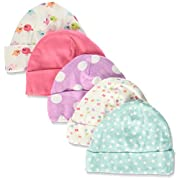 Gerber Baby-Girls Cap, Leopard, 0-6 Months (Pack of 5)