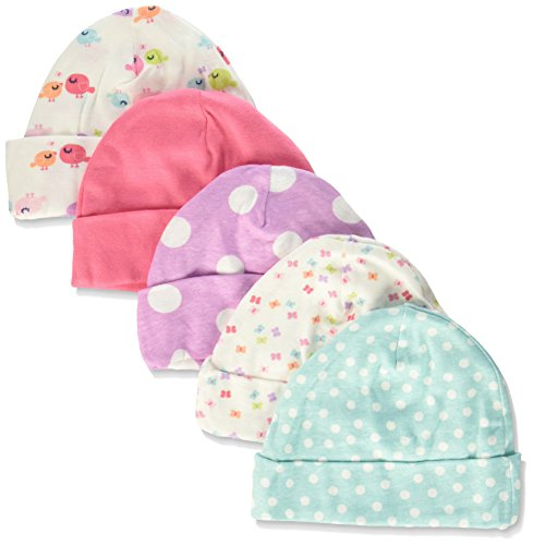 Gerber Baby Girls' 5 Pack Caps, Birdie, 0-6 - Infant Cap