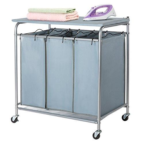 Marble Field 3-Bag Heavy-Duty Rolling Laundry Sorter Laundry Cart Ironing Board Laundry Room Organizer Wheels Light ()