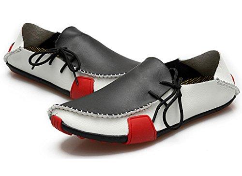 Fangsto Heren Lederen Slipper Loafers Platte Schoenen Slip-ons Wit