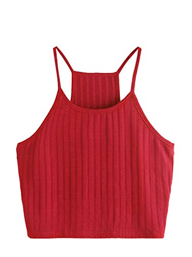 SheIn Women's Summer Basic Sexy Strappy Sleeveless Racerback Crop Top Small Red by SheIn