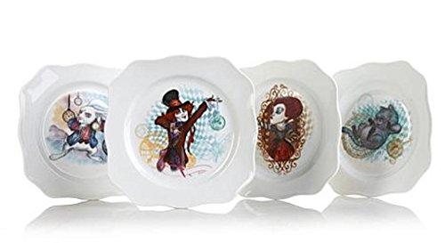 Disney Collectible Plates (Disney® Set of 4 Fluted Square Porcelain Plates)