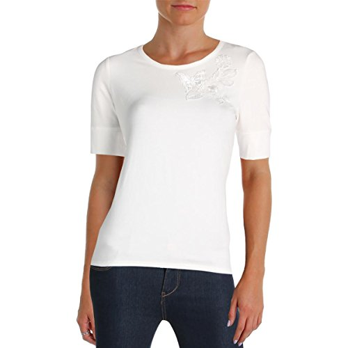 s Embroidered Short Sleeves Casual Top Ivory S ()
