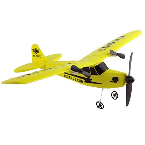 (E-SCENERY 2.4G 2CH Radio Remote Control Airplane Aircraft Glider, EPP foam RC Plane Helicopter Toys for Kids Adults (Yellow))